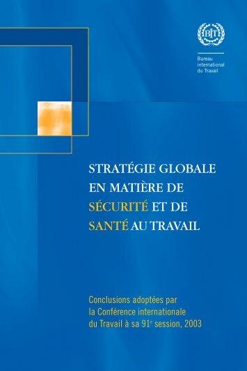 stratégie globale en matière de sécurité et de santé au travail