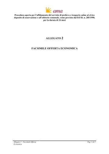 AMA - Gara trasporto salme - Allegato 2- Offerta Economica