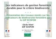 Les indicateurs de gestion forestière durable pour le critère ...