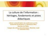 La culture de l'information - Congrès des milieux documentaires