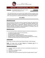 thb 2120 – les écrits de paul – en ligne - Institut de théologie pour la ...