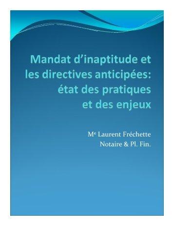 Le mandat d'inaptitude et les directives anticipées