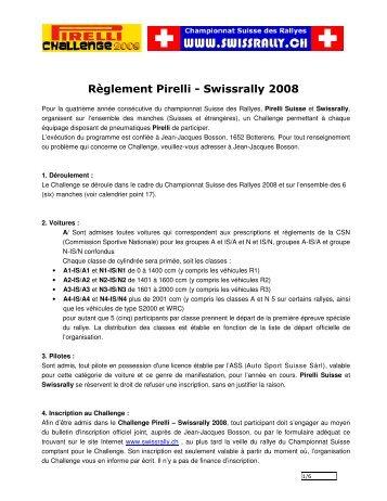 Règlement Pirelli - Swissrally 2008 - Championnat suisse des rallyes