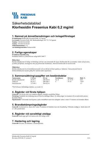 Säkerhetsdatablad Klorhexidin Fresenius Kabi 0,2 mg/ml