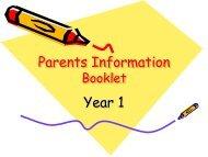 Parents Information Year 1 - Avanti Schools Trust