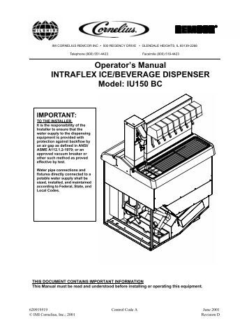 Operator's Manual INTRAFLEX ICE/BEVERAGE DISPENSER Model ...