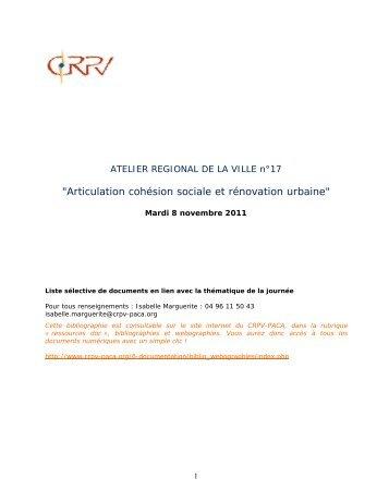 """""""Articulation cohésion sociale et rénovation urbaine"""" - CRPV-PACA"""