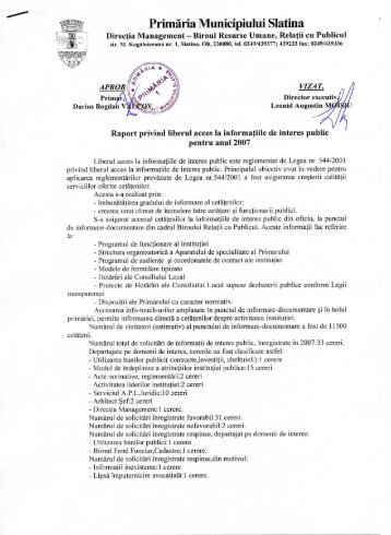 Acces informaţii de interes public 2007 - Primăria Municipiului Slatina