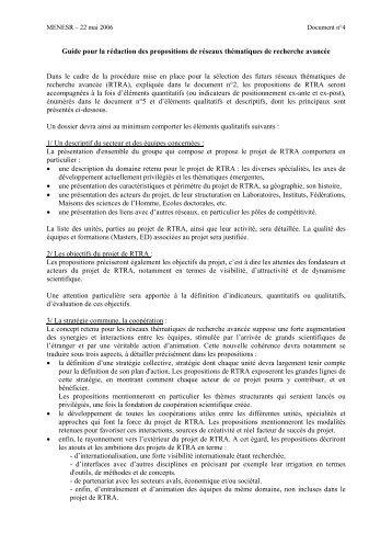 Guide pour la rédaction des propositions de RTRA du ministère de ...