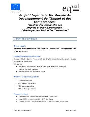 """Projet """"Ingénierie Territoriale de Développement de l'Emploi et des ..."""