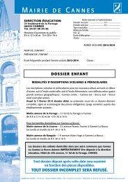 Dossier d'inscription complet - Cannes