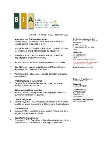 2 2 2 3 4 4 5 6 6 7 8 Nouvelles des Églises adventistes Dammarie ...