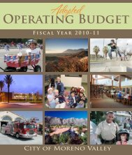 Adopted Operating Budget Fiscal Year 2010/2011 - Moreno Valley