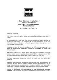 Ouverture des états généraux par Jean-Marc Vayssouze ... - Cahors