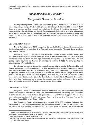 """""""Mademoiselle de Poncins"""" 1 Marguerite Gonon et le ... - Forez histoire"""