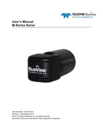 User's Manual M-Series Sonar - BlueView Technologies, Inc.