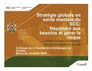 Stratégie globale en santé mentale du SCC - Société de ...
