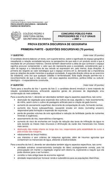 PROVA ESCRITA DISCURSIVA DE GEOGRAFIA ... - Colégio Pedro II