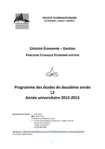 Programme des études de deuxième année L2 Année universitaire ...