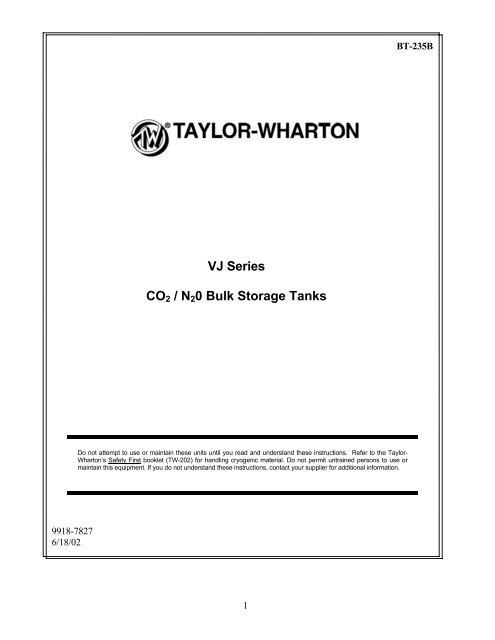 VJ Bulk Tank Manual - Taylor-Wharton