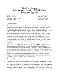 POLSC 799 Seminar International Politics of Middle East