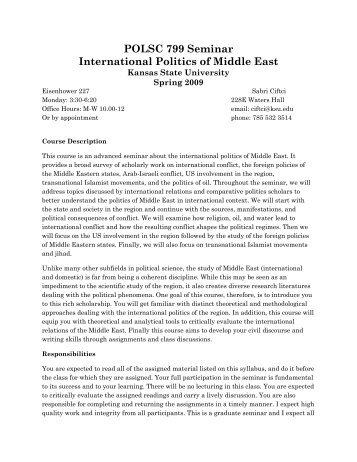 POLSC 799 Seminar International Politics of Middle East