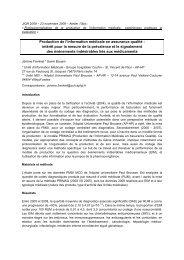 Production de l'information médicale en assurance qualité ... - JIQHS
