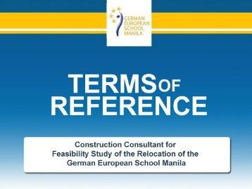 TOR - Construction Advisor - German European School Manila