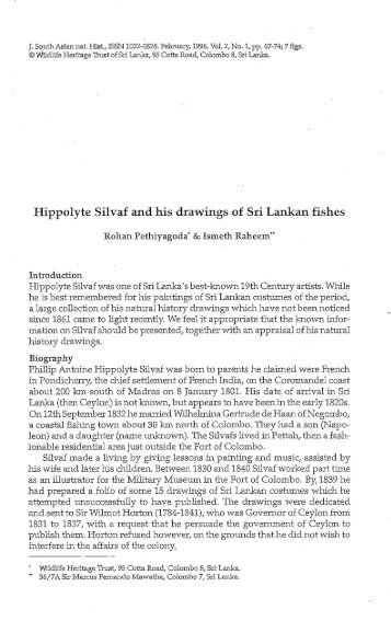 Hippolyte Silvaf and his drawings of Sri Lankan fishes - WHT