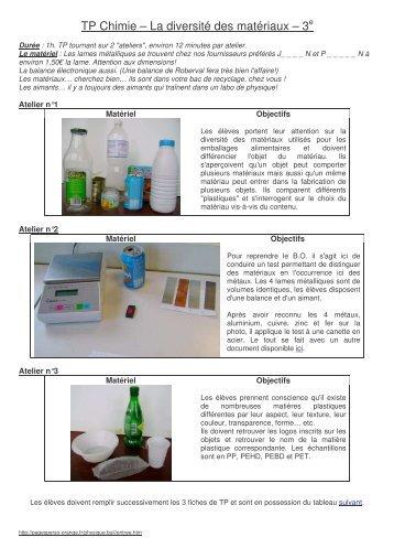 La diversité des matériaux - La physique et la chimie au collège