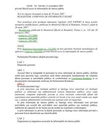 Legea nr. 544/2001 privind liberul acces la informaţiile de interes ...