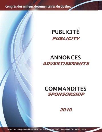 PUBLICITÉ ANNONCES COMMANDITES - Congrès des milieux ...