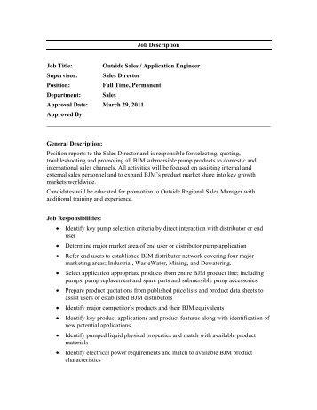 director of sales job description