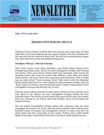 Newsletter KAP Syarief Basir & Rekan, Edisi November 2011