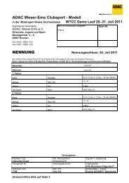 ADAC Weser-Ems Clubsport - Modell NENNUNG - ADAC Cruze Cup