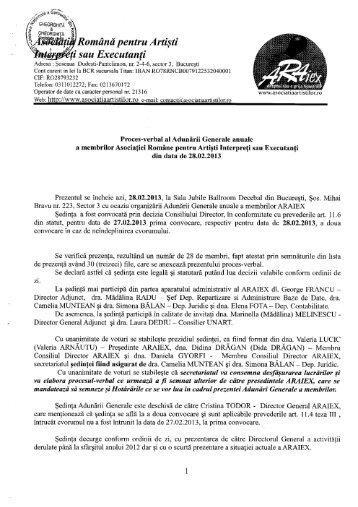 Proces verbal AGA al membrilor ARAIEX din data de 28.02.2013