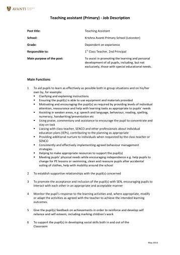 teaching assistant job description pdf