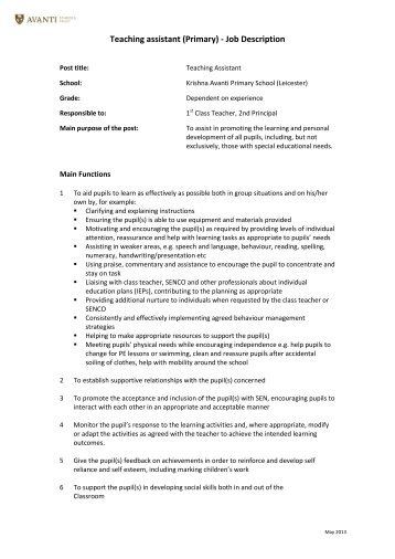 "Brough Primary School Job Description €"" Teaching Assistant (Level 2)"