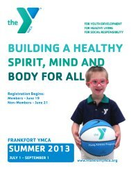 building a healthy spirit, mind and body for all - Frankfort YMCA