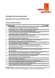 Checkliste: Das barrierefreie Haus - Aktion pro Eigenheim