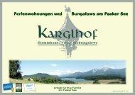 Karglhofs Hausprospekt - Ferienwohnungen und Bungalows am ...