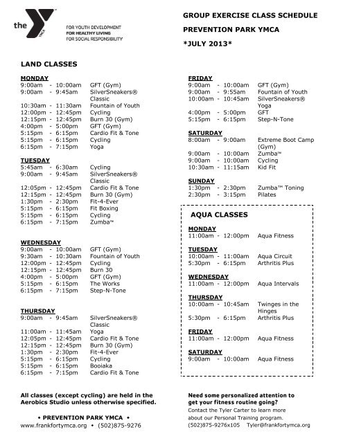 group exercise class schedule prevention park