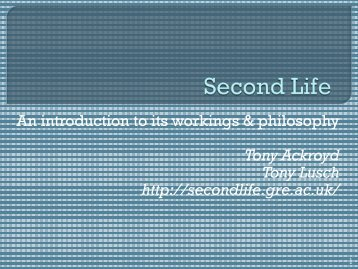 Second Life orientation presentation - staffweb