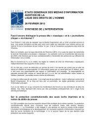 Audition de la Ligue des Droits de l'Homme - États généraux des ...