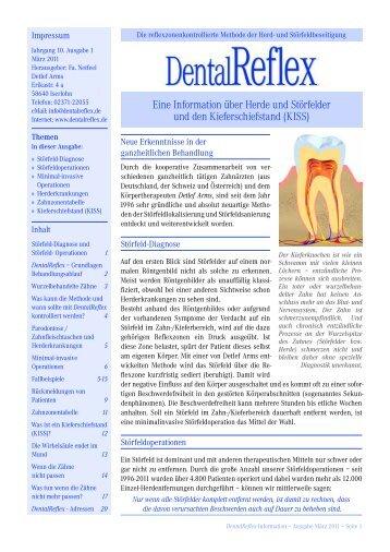 Eine Information über Herde und Störfelder und den - DentalReflex