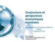 Conjoncture et perspectives économiques mondiales