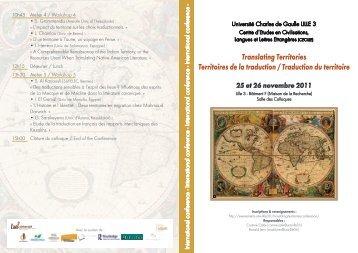 Télécharger le programme du colloque (pdf) - Lille 3