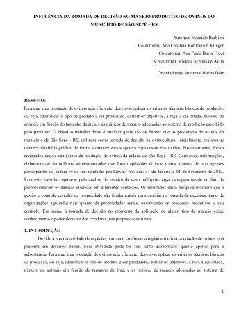 INFLUÊNCIA DA TOMADA DE DECISÃO NO ... - aader.org.ar