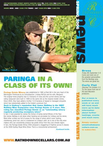 PARINGA IN A CLASS OF ITS OWN! - Rathdowne Cellars