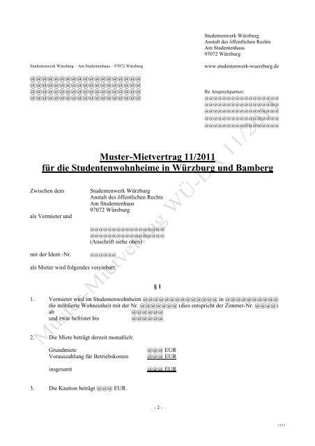 Muster Mietvertrag 11 2011 Fur Die Studentenwohnheime In
